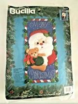 Vintage Bucilla Santa & Bear Banner ~ Christmas Felt Wall Hanging Needlecraft - $21.73