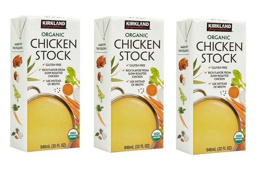 Pack Of 3 Kirkland Signature Organic Chicken Stock, 32 fl. oz.; Exp 03/21 - $24.74