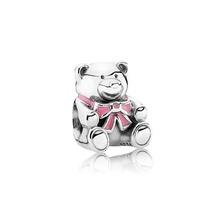 Sterling Silver 925 Girl Pink Enamel Charm Bead Fits Pandora Bracelets 1pcs - $10.99