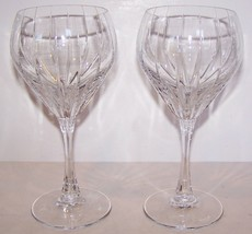 "STUNNING PAIR OF MIKASA CRYSTAL INFINITY 7 3/4"" WATER GOBLETS - $36.42"