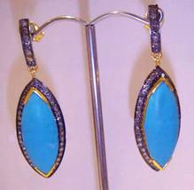 Victorian 1.96ct Rose Cut Diamond Turquoise Wedding Dangler Earrings - $688.28