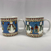 Debbie Mumm Coffee Mugs Jolly Snowmen Sakura Stoneware Christmas Snowman Lot - 2 - $14.84