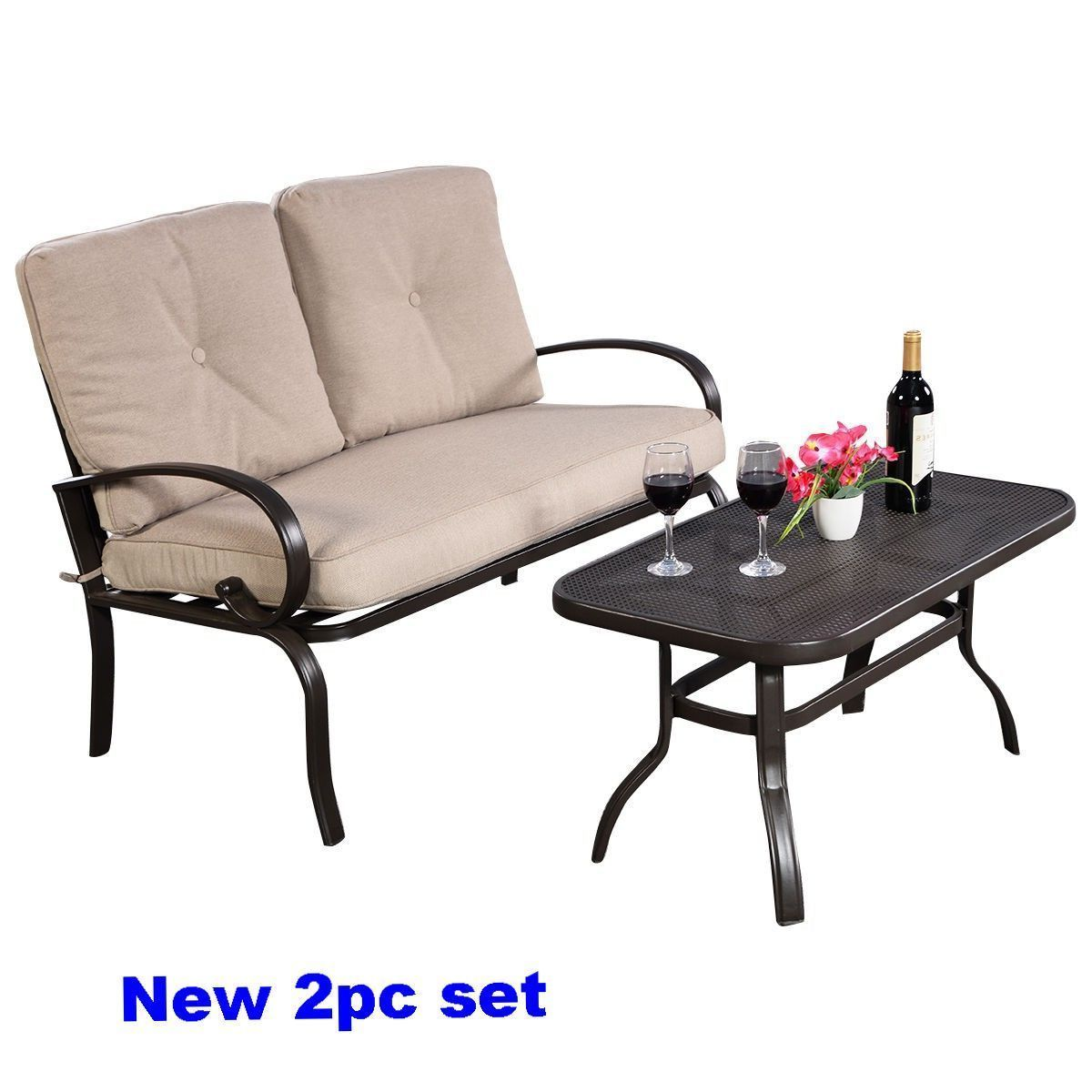 S L1600 Outdoor Patio Sofa Bistro Steel Seat Coffee Table Loveseat Cushion Clearance 2pc