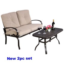 Outdoor Patio Sofa Bistro Steel Seat Coffee Table Loveseat Cushion Clear... - $227.26