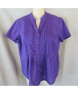 Gloria Vanderbilt top blouse S purple pin tucks  button front cap sleeves - $7.79