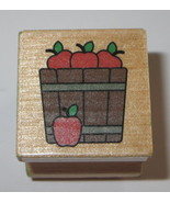 Apple Barrel Rubber Stamp Bobbing For Apples Fruit Fall Harvest Wood Mou... - $2.96
