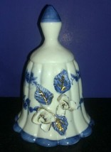 Vintage Blue & White Victorian Style Porcelain Skirted Bell w/Applied Fl... - $4.94