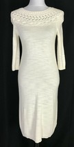 Anthropologie Knitted & Knotted Dress Extra Small Petite Cream Sweater Modest - $69.97