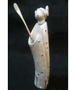"""Zuni Indian MAIDEN WARRIOR FETISH, 7.5"""" Hand Carved Antler Sculpture, Tr... - $1,599.00"""