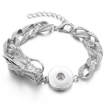 New 18mm Snap Jewelry High Quality Silver Bracelet Dragon Crystal Snap Button Br - $11.29