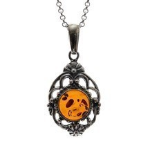 "Sterling Silver 925 Cognac Classic Pendant Baltic Amber Rolo 18"" - $90.28"