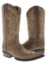 Mens Light Brown Classic Plain Leather Western Cowboy Boots Embroidered ... - €96,83 EUR