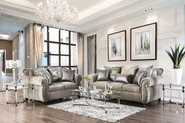 Lagos Transitional Sofa Set in Gray Chenille with Free Pillows - $1,798.00