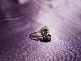 Sapphires & Diamonds Dual Flower White Gold 14k Ring Size 7 - $643.50