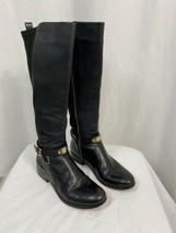 Michael Kors Leather Zip Stretch Knee High Riding Boot Black Women's 8M - $94.99