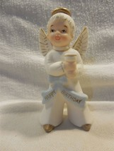 Vtg Lefton Porcelain Bisque Happy Birthday Boy Angel Figurine Candle Hol... - $8.95