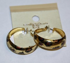 "Gold Tone 1 3/8"" Dia Open Hoop Earrings Animal Print Fashion Jewelry JXW... - $3.98"