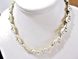 WHITE ENAMEL DESIGNER FANCY CURLICUE DESIGNER MONET CHOKER NECKLACE VINTAGE - $32.00