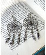 Dream catcher earrings women, dangle labradorite earrings, long boho ear... - $22.95