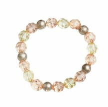 Rose Gold Pink Yellow Beaded Stretch Bracelet Handmade Handcrafted Jewelry Gift - $9.99