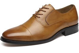 Handmade Men Brown Leather Oxford Shoes image 5