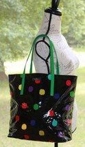 Kate Spade Black & Multi Colored Polka Dot Beach Shopper Tote Bag Purse HTF - £83.39 GBP