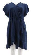 Isaac Mizrahi Pebble Knit Ruffle Hem Wrap Dress Royal Navy L NEW A306457 - $37.60