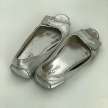 Michael Kors Womens Size 6.5 Peep Toe Silver Leather Flats SR03 - $16.68