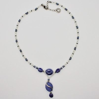 NECKLACE ANTIQUE MURRINA VENICE WITH MURANO GLASS ADJUSTABLE, BLUE AND GRAY