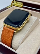24K Gold Plated 44MM Apple Watch Series 4 Orange Leather Band Gps+Lte Custom - $930.07