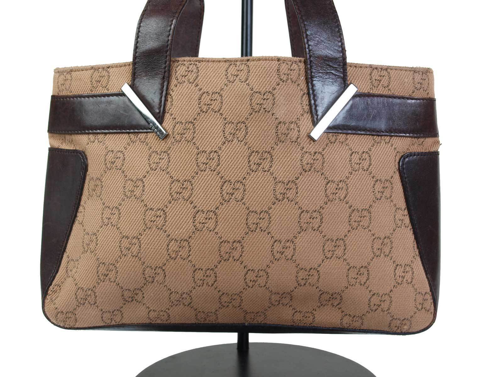 Authentic GUCCI GG Pattern Canvas Leather Browns Mini Hand Bag GH16098L image 3