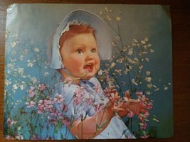 1950s A. Scheer Litho Big Eyes Baby Girl Young Charmer 8 x 10 Embossed - $14.80