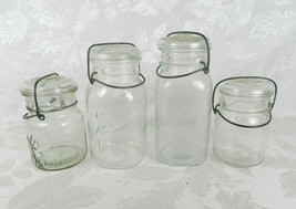 Set of 4 Vintage Wire Bail Canning Jars 2 Qt 2 Pt Ball Ideal Anchor Hocking - $19.79