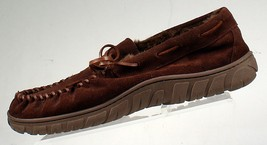 CHAPS Genuine Suede Leather Brown Moccasin Slippers MEN sz L (9.5-10.5) ... - $23.19 CAD