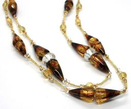 Necklace Antique Murrina,CO767A10,Cones,Colour Amber,Yellow,Two Wires,Murano image 3