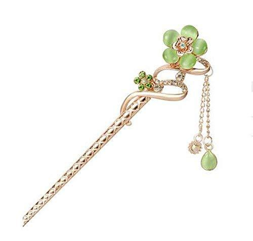 Classical Style Flower Hairpin Metal Rhinestones Hair Decoration, Green