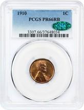 1910 1c PCGS/CAC PR 66 RB - Scarce Matte Proof - Lincoln Cent - $1,746.00