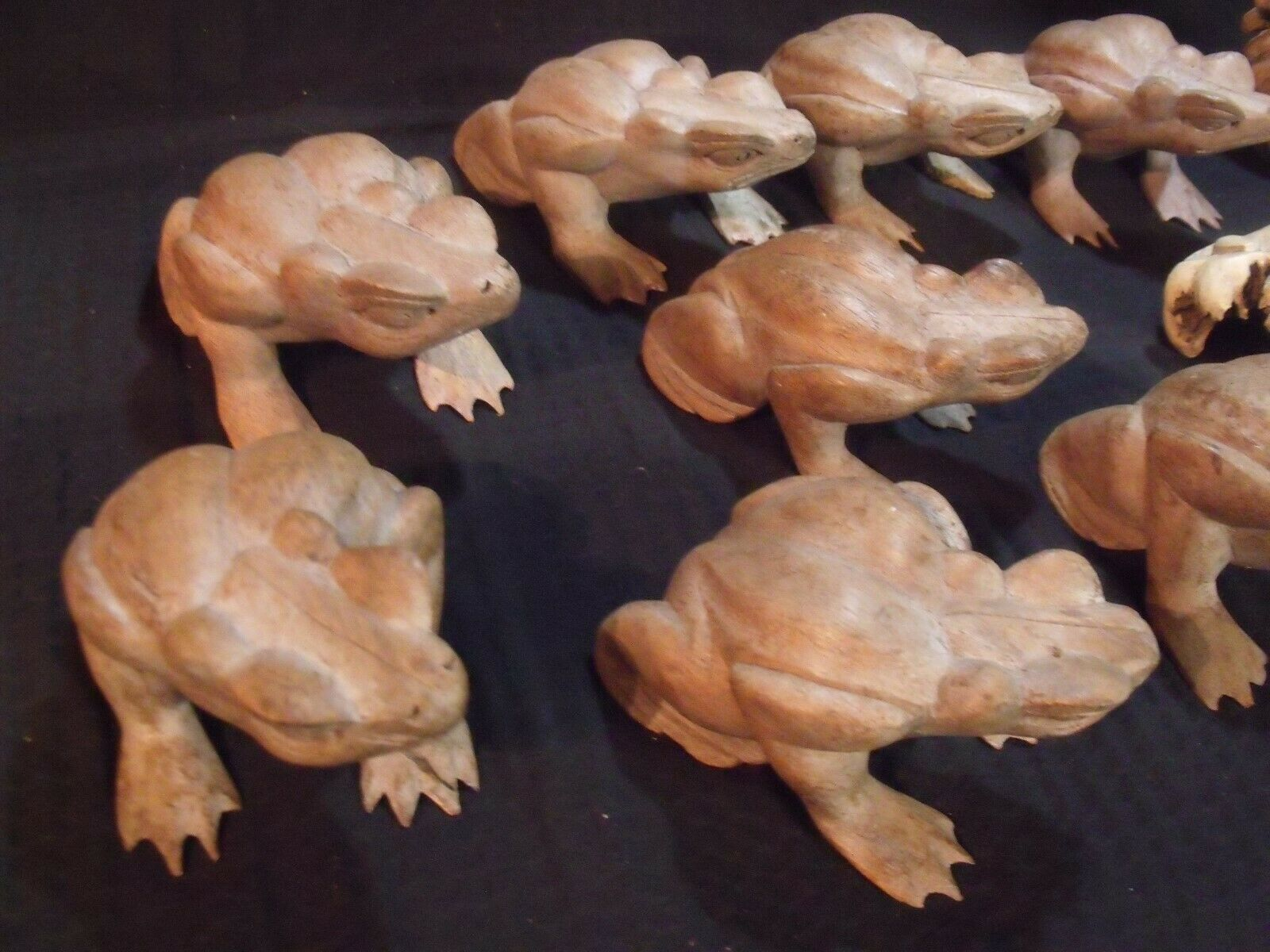 (11) VARIOUS VINTAGE HAND CARVED INDONESIAN WOOD FROGS image 2