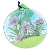 Fused Art Glass Purple Iris Flower Ornament Sun Catcher Handmade in Ecuador image 2