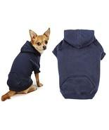 Navy Blue Dog Hoodies Cotton Blend Kangaroo Pocket Dogs Sweatshirt (Large) - $26.08