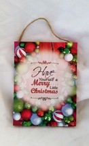 Holiday Quote Plaque Sign A Merry Little Christmas Hanging Wall Decor - $3.98