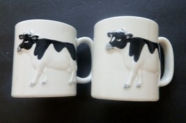 Otagiri Cups White with Black and White Cows Standing out in Relief Lot ... - $12.86