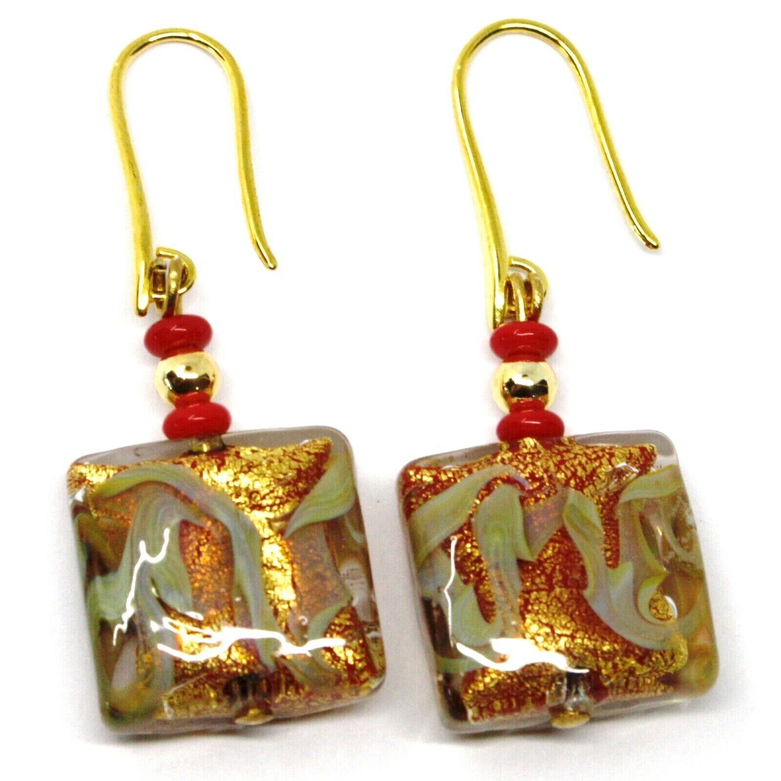 PENDANT EARRINGS WITH RED MURANO SQUARE GLASS & GOLD LEAF, MADE IN ITALY