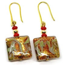 PENDANT EARRINGS WITH RED MURANO SQUARE GLASS & GOLD LEAF, MADE IN ITALY image 1