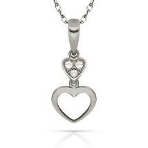0.09ct Brilliant Round Created Diamond Double Heart Pendant 14k W Gold C... - $53.99+