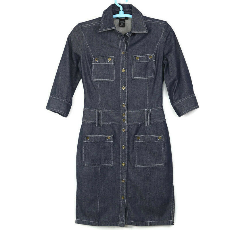 Primary image for Express Womens Shirt Dress Size 5 6 Jean Denim Button Pockets