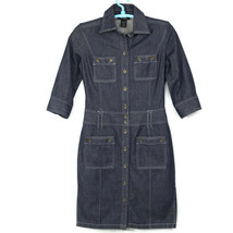 Express Womens Shirt Dress Size 5 6 Jean Denim Button Pockets - $29.65