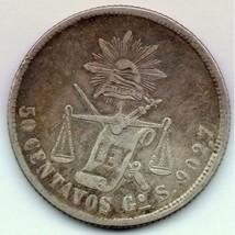 1872 Mexico 50 Centavos rare Large Silver Coin Nice! - $13.98