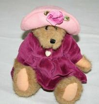 "Boyds Bears BAILEY Teddy Bear 8"" Plum Velvet Dress Pink Hat Plush Stuffe... - $19.24"