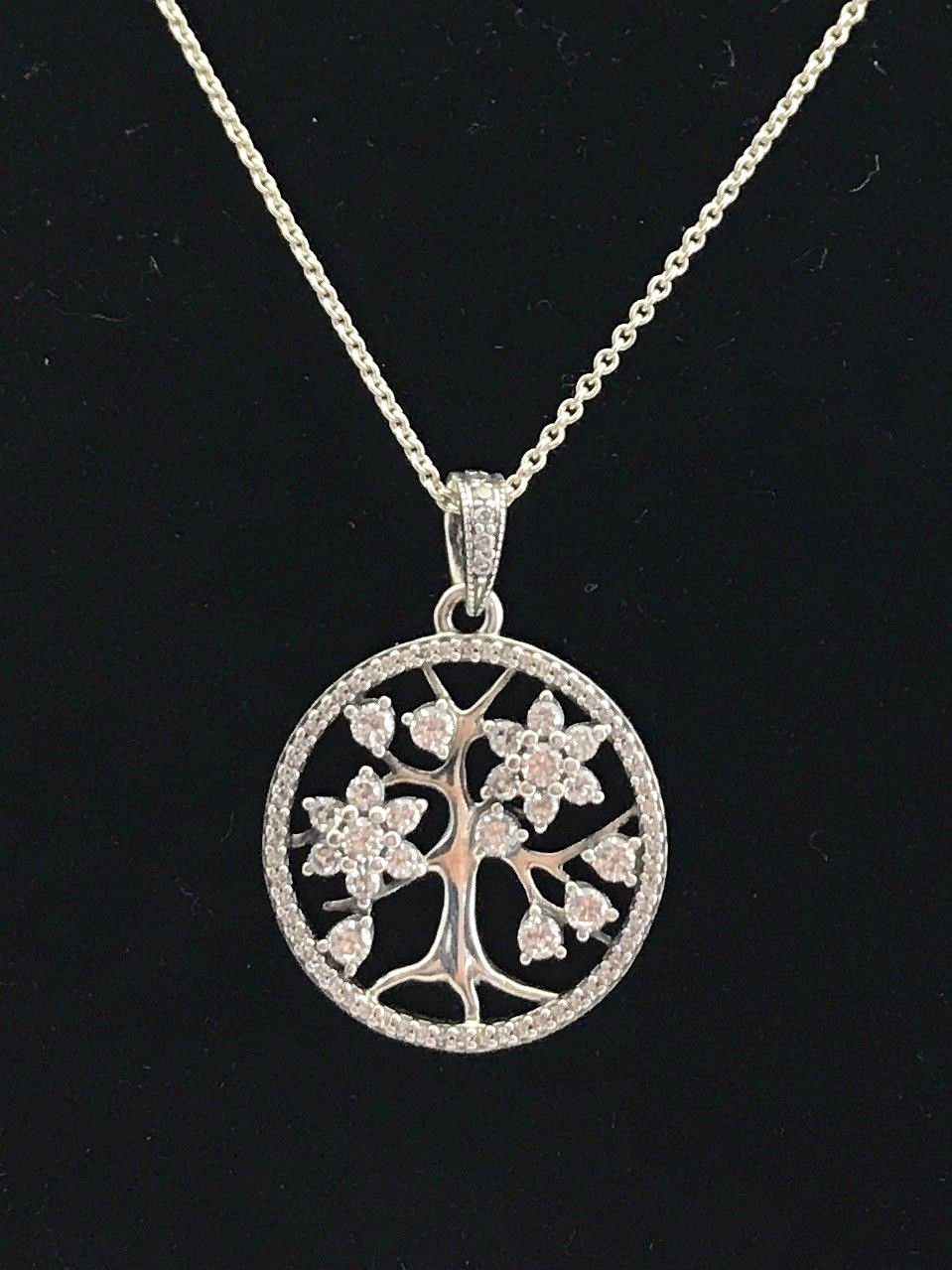 fba46677cc7ceb Authentic Pandora Family Tree Necklace, Clear CZ, 31.5